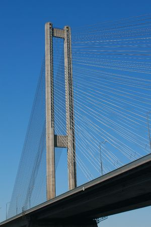 shrouds: Cable-stayed bridge, shot taken from bottom point of view. Stock Photo