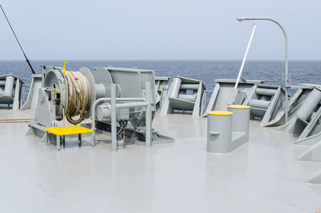 windlass: Mooring winch on a  forward of the vessel Stock Photo