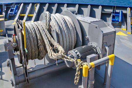 Mooring winch on a forward of the vessel Banque d'images
