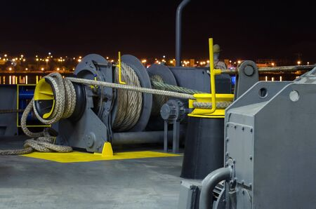 Mooring winch against the background of the night city