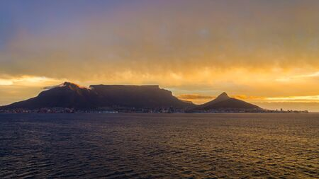 Cape Town, Republic of South Africa - April 09: Landscape of Table mountain in the evening on April 09, 2018 in Cape Town, Republic of South Africa.
