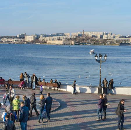 Sevastopol, Crimea - March 06: Seafront in Sevastopol city on March 06, 2016  in Sevastopol, Crimea.