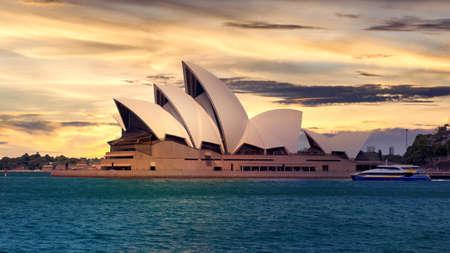 Sydney, Australia - January 9: Sydney Opera House in the evening on January 9, 2019 in Sydney, Australia.