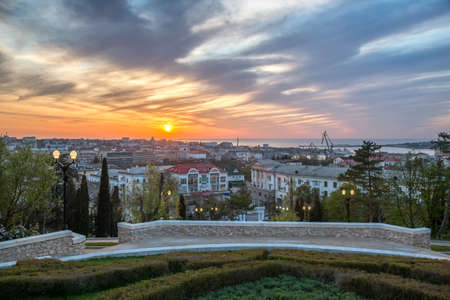 Sevastopol, Crimea - April 24: Evening view of Sevastopol from Malakhov kurgan on April 24, 2019  in Sevastopol, Crimea.