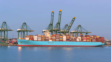 Tianjin, China - August 29: Container vessel in port of Tianjin on August 29, 2019 in Tianjin, China. Editöryel