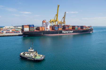 Sydney, Australia - January 08: Container vessel moor to the berth in port of Sydney on January 08, 2019 in Sydney, Australia. Editöryel