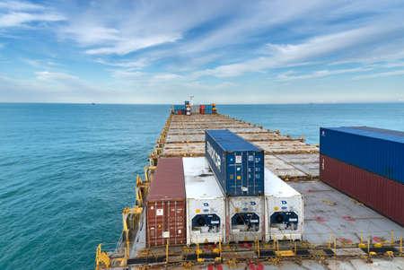 Pusan, South Korea - September 24: Container vessel anchored in Pusan on September 24, 2019  in Pusan, South Korea.