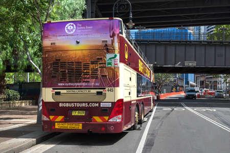 Sydney, Australia - January 9: City tour bus in Sydney on January 9, 2019 in Sydney, Australia. Editöryel