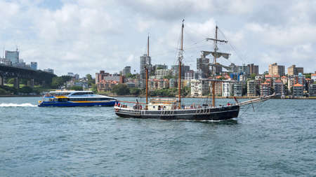 Sydney, Australia - January 9: Sailing vessel in Sydney on January 9, 2019 in Sydney, Australia.