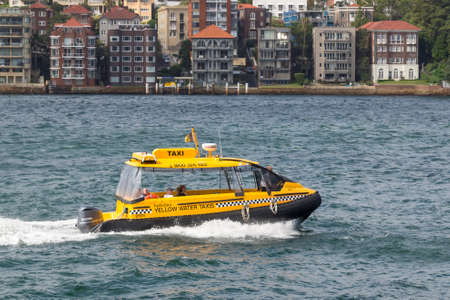 Sydney, Australia - January 9: Yellow water taxi in Sydney on January 9, 2019 in Sydney, Australia.