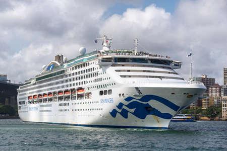Sydney, Australia - January 9: Passenger ship in port of Sydney on January 9, 2019 in Sydney, Australia. Editöryel