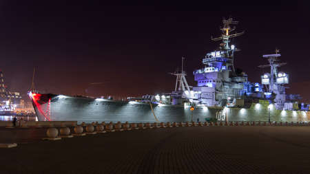 Novorossiysk, Russia - March 24: Night view of the old navy ship on March 24, 2019 in Novorossiysk, Russia.