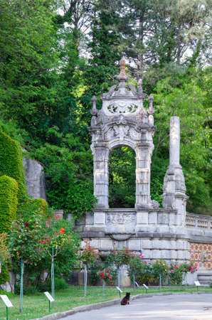 Massandra, Crimea - May 28: Old arch in the park of the Massandra palace on May 28, 2016 in Massandra, Crimea.
