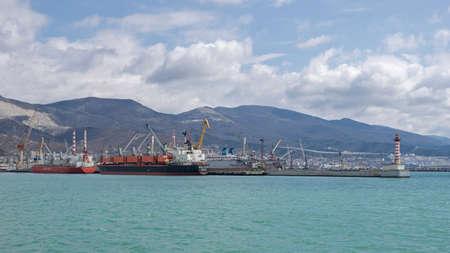 Novorossiysk, Russia - March 25: Port of Novorossiysk on March 25, 2019 in Novorossiysk, Russia. Editöryel