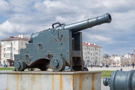 Novorossiysk, Russia - March 25: Old cannon in Novorossiysk on March 25, 2019 in Novorossiysk, Russia. Editöryel