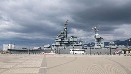 Novorossiysk, Russia - March 25: Old navy ship in Novorossiysk on March 25, 2019 in Novorossiysk, Russia. Editöryel