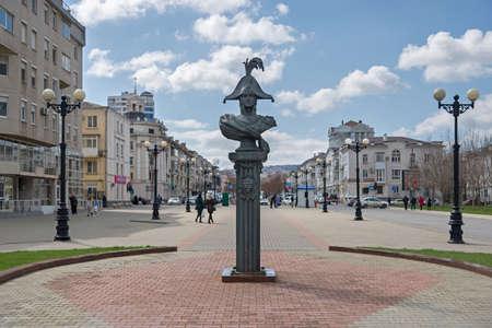 Novorossiysk, Russia - March 25: Lazarev sculpture at the Phorumnaya square in Novorossiysk on March 25, 2019 in Novorossiysk, Russia.