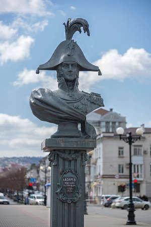 Novorossiysk, Russia - March 25: Michael Petrovich Lazarev sculpture in Novorossiysk on March 25, 2019 in Novorossiysk, Russia. Editöryel