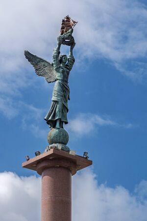 Novorossiysk, Russia - March 25: Stele at the Phorumnaya square in Novorossiysk on March 25, 2019 in Novorossiysk, Russia.