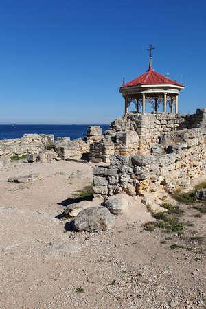 Sevastopol, Crimea - October 13: Ruins of Chersonese Taurian on October 13, 2019 in Sevastopo, Crimea. Stock Photo