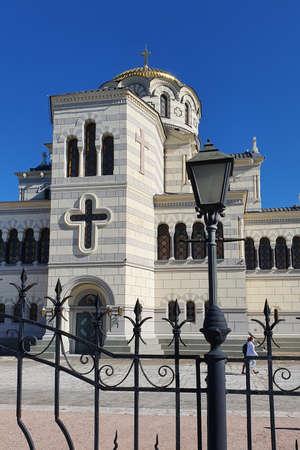 Sevastopol, Crimea - October 13: The Vladimir cathedral in Chersonese on October 13, 2019 in Sevastopo, Crimea.