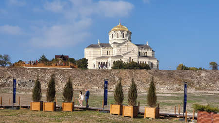 Sevastopol, Crimea - October 27: The Vladimir cathedral in Chersonese on October 27, 2020 in Sevastopo, Crimea.