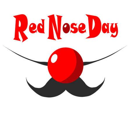 De vectorillustratie gewijd aan Red Nose Day. Het abstracte gezicht van de clown met snorren en een rode neus.
