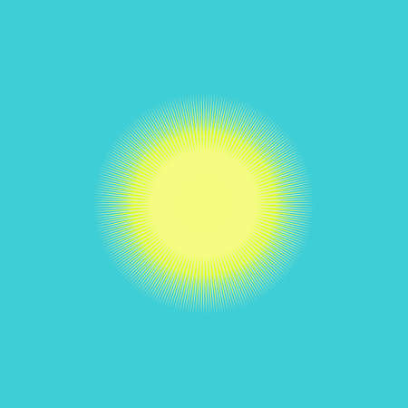 Summer solstice poster with sun icon in blue background.