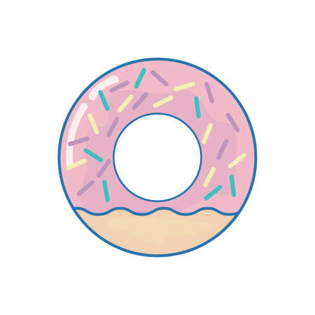 The pink doughnut isolated. Vector illustration of a dessert, sweets, baking.