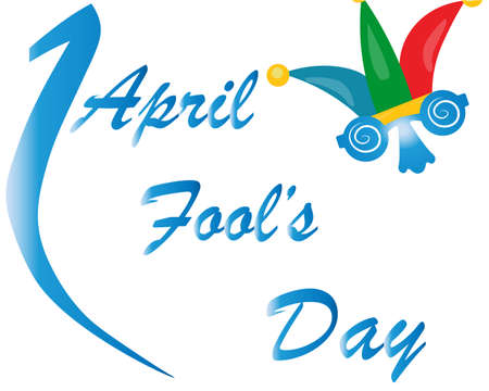 April Fool's Day. Bright vector card with an inscription. Isolated on a white background.