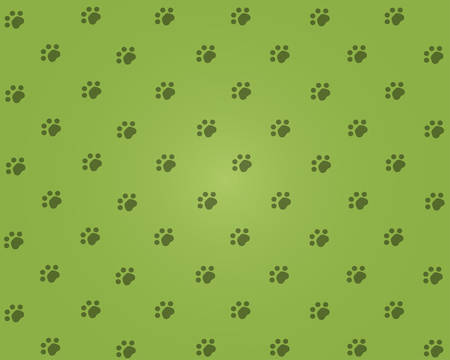 Green background with cats pads. Vector illustration.