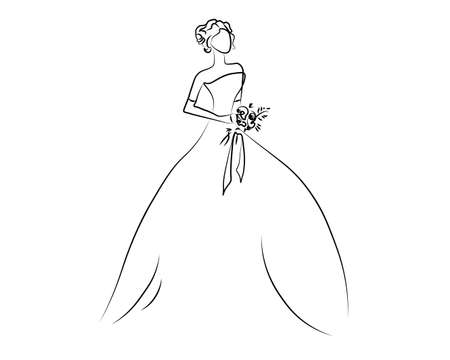 Girl one line on Sketch of the girl, bride, princess. Looking at sideways Vector illustration.