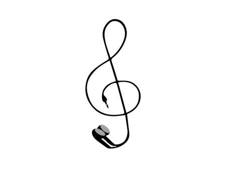 Treble clef from earphones. Vector illustration. Isolated on a white background. Stock Illustratie
