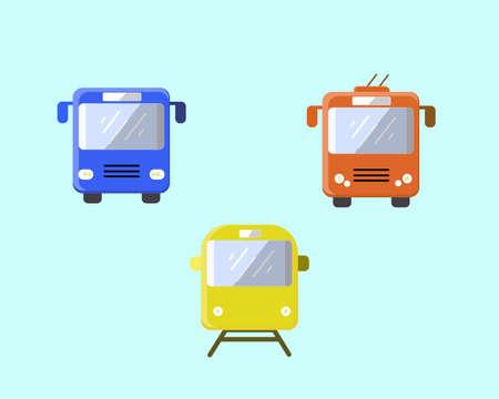 Ffentliche Verkehrsmittel: Bus, Obus und Straßenbahn. Vektorillustration. Stellen Sie den Transport auf einen hellen Hintergrund. Standard-Bild - 98204721
