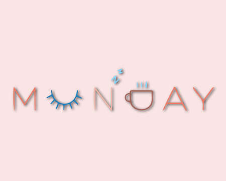 Beautiful lettering Monday Vector illustration of the text. Gentle pink background.