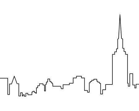 Skyscrapers one line simple vector illustration, black and white picture.