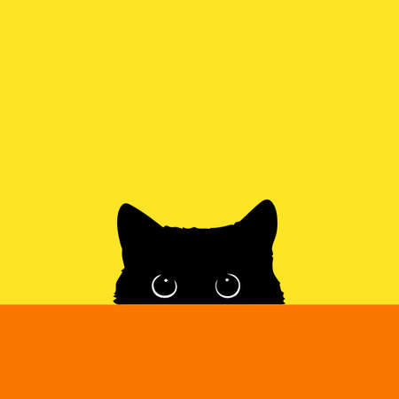 The black cat looks out because of a table. Color vector illustration. 일러스트