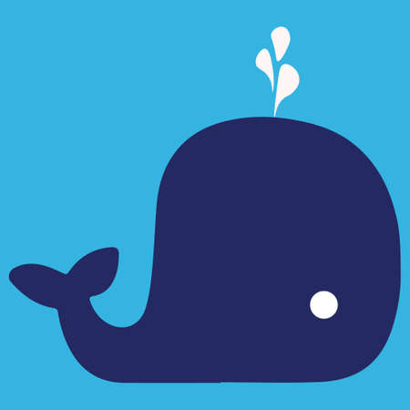 Cartoon whale with the fountain. Blue whale on a blue background. Bright vector illustration. Illustration
