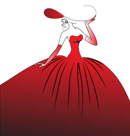 The girl in a red ball dress, a hat and gloves. Vector illustration. Isolated on a white background.