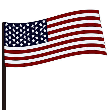 Flag of the USA on a flagstaff. Vector illustration. The flag isolated on a white background. 일러스트