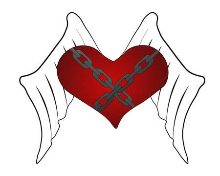 The abstract flying heart with wings and chains. Vector illustration. The red heart isolated on a white background.