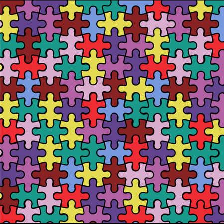 Mehrfarbiger Hintergrund aus Rätseln. Vektorillustration eines hellen Hintergrunds.