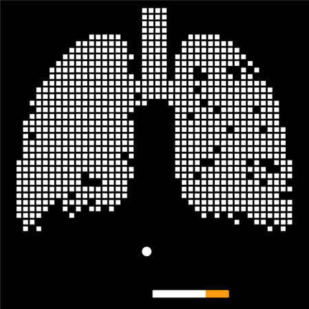 Destruction of lungs under the influence of cigarettes. Vectorial illustration. White checkered lungs on a black background. Illustration