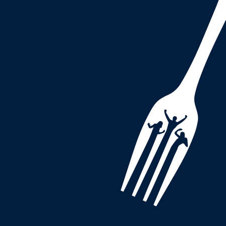 Dancing silhouettes of people between the prongs of a fork. Vector illustration. White fork on a dark blue background.