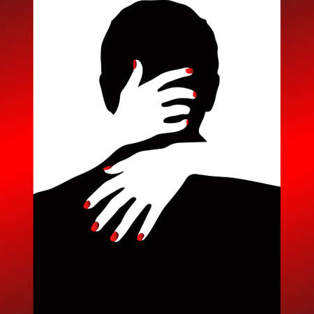 A pair of hugging people. Vector illustration in 3 colors red, black, white