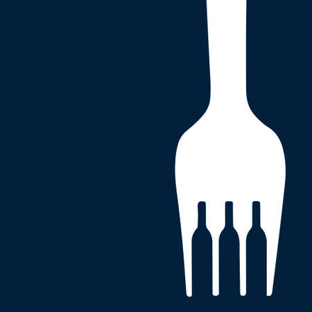 Silhouettes of bottles between the teeth of the fork. Vector illustration.