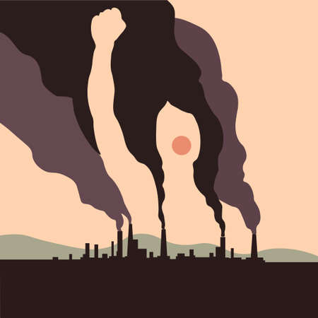 Silhouette of a woman with a raised hand up from the smoke. Vector illustration for the protection of the environment and the environment from hazardous emissions from factory.