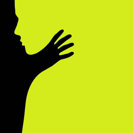 A hand from darkness strangles a man. Vector illustration. We are strangled by our shadows.
