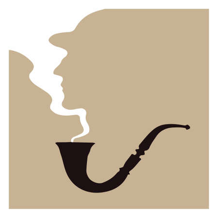 Silhouette of a man from the smoke from a pipe. Vector illustration. Character Sherlock Holmes.