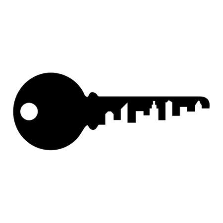 The key with the silhouette of the city. Vector illustration. Isolated on white background.